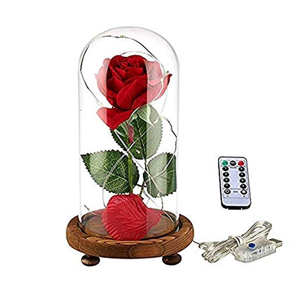 反発リハーサル防衛YSYDE 美と獣のバラのキット魅惑のバラの赤い絹のバラは、バレンタインの贈り物の結婚記念日の誕生日の贈り物のためのドームで最高の贈り物を導きました母の日ギフト