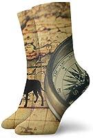 古代の地図上の古いビンテージコンパス大人の短い靴下メンズレディースヨガハイキングサイクリングランニングサッカースポーツ用の綿の心地よい靴下