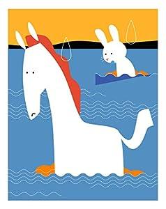 白馬と白いうさぎの子