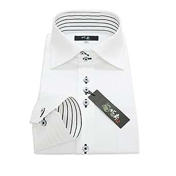 (ホクサイ)葛飾北斎 ジャパンブランド 襟高 hg-1 3L-スマート ワイシャツセット おしゃれ ボタンダウン ホリゾンタル yシャツ ボタンダウン ホリゾンタル 黒 長袖ワイシャツ ビジネス 白 メンズ