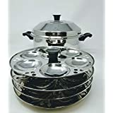 Tabakh 4-Rack Stand & Multi Purpose Plate Idli Cooker, Makes 24, Stainless Steel