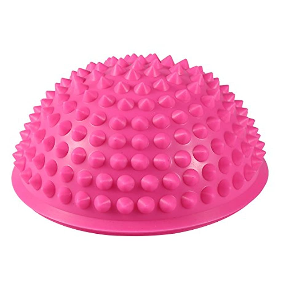 進むリズム温室ハーフラウンドPVCマッサージボールヨガボールフィットネスエクササイズジムマッサージ5色(ピンク)