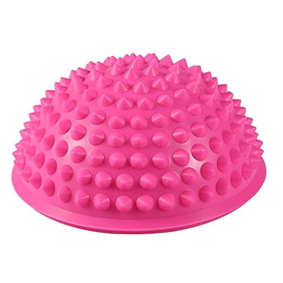 充実避難する繰り返したハーフラウンドPVCマッサージボールヨガボールフィットネスエクササイズジムマッサージ5色(ピンク)