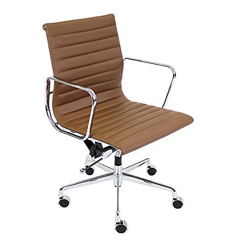 イームズアルミナムチェア ローバックチェア PU ライトブラウン キャスター 肘掛け クロムメッキ クロームメッキ 回転 昇降 高さ調節 ポリウレタン オフィスチェア ロッキングチェア ミーティングチェア 椅子 いす イス チェアー 会議室 書斎 茶 1011pulbr
