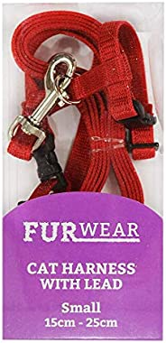 Furwear Fashion Cat Harness with Lead, Small, Red