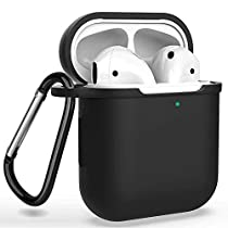 AirPods ケース 防水 ケース、保護イヤーフックのペア、カラビナ、収納袋 全面保護カバー 耐衝撃 防塵 軽量小型 Apple AirPods 第1/2世代に適用 6 in 1 TPU