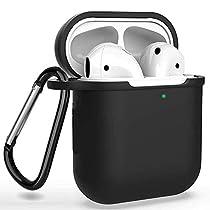 AirPods ケース 防水 ケース、保護イヤーフックのペア、カラビナ、収納袋 全面保護カバー 耐衝撃 防塵 軽量小型 Apple AirPods 第1/2世代に適用 6 in 1 TPU
