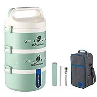 保温弁当箱 お弁当 多層 大容量 保温食箱桶 ランチボックス ステンレスランチジャー 食事箱 持ち運びが簡単 学校 ピクニックキャンプ (Color : Green, Size : 3 layer)