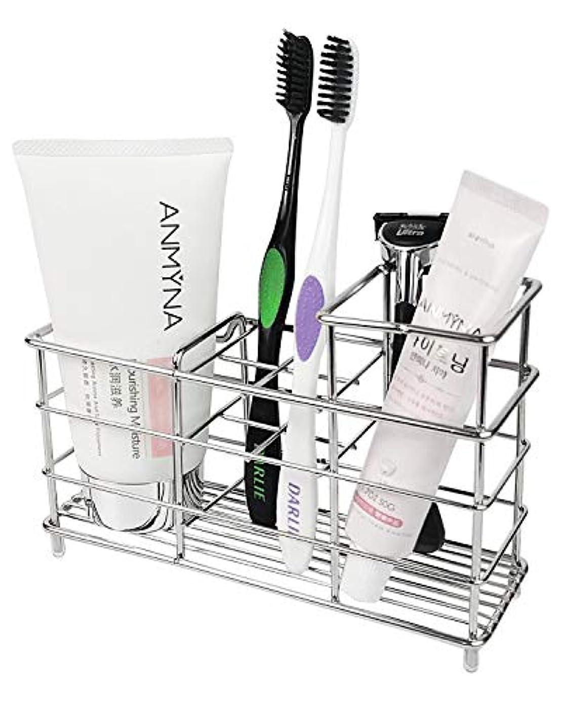 階層杭文字通りKeonjinn 歯ブラシスタンド 置き型 電動歯ブラシ置き 防錆、大容量 304ステンレス製 洗面所 収納 (サイズ A)