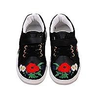 スポーツシューズ 子供 女の子 刺繍された花 小さな白い靴 スニーカー カジュアルシューズ ファッション 通気性 軽量 快適 個性 ブラック