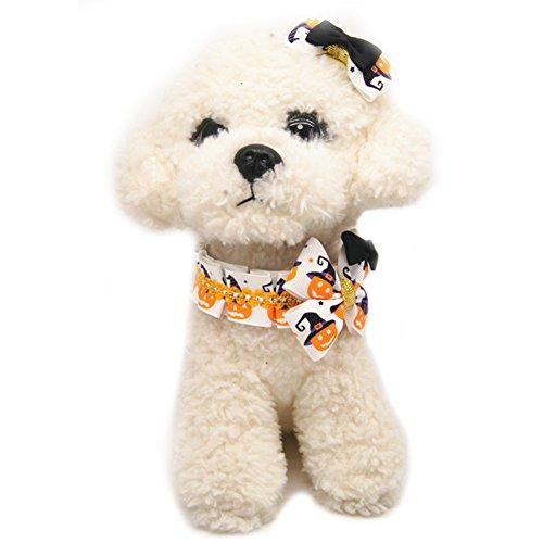Yunt ペット 首輪 犬猫 首輪 ハロウィン ヘアピンと首輪 2セット 犬用 ヘア・クリップ クリスマス 可愛い M