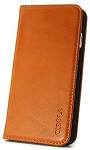 CIBOLA レトロ 高級牛革 手帳型 横開き カードポケット付き iphone ケース【箱 保存袋 クロス付き】(iphone6 plus/6s plus, ブラウン)