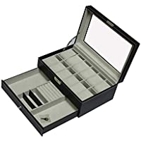 12 Grids Watch Display Case Leather Jewellery Storage Box Organiser with Lock Key