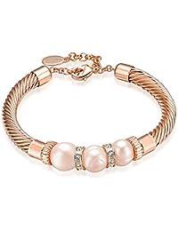 Mestige Rose Gold Lithe Freshwater Pearl Bracelet with Swarovski® Crystals, Gift
