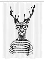 """鹿Stallシャワーカーテンby Ambesonne、Dressed UpトナカイHeaded Humanヒップスタースタイルwith Glasses Strippedシャツ、ファブリックバスルームDecorセットwithフック、チャコールグレーホワイト 54"""" W By 78"""" L stall_9563_54x78"""