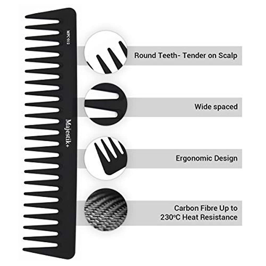 Wide Tooth Comb- a Professional Carbon Fibre Hair Comb by Majestik+, Anti-Static, Strength & Durability, in Black...