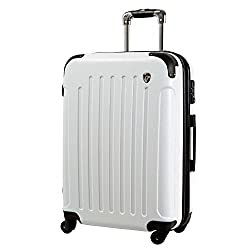 MS型 ホワイト   newFK10371 スーツケース キャリーバッグ 軽量 TSAロック (3~5日用) マット加工