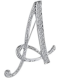 JewelBeauty Crystal 26 Letter Brooch Pin A -Z Silver Plated Clear Natural Alphabet Monogram Lapel Badge (A)