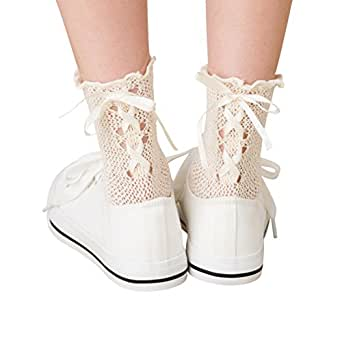 belleg レースアップリボン トーションソックス (キナリ)(日本製 Made in Japan) ネットソックス 網ソックス 靴下 レディース