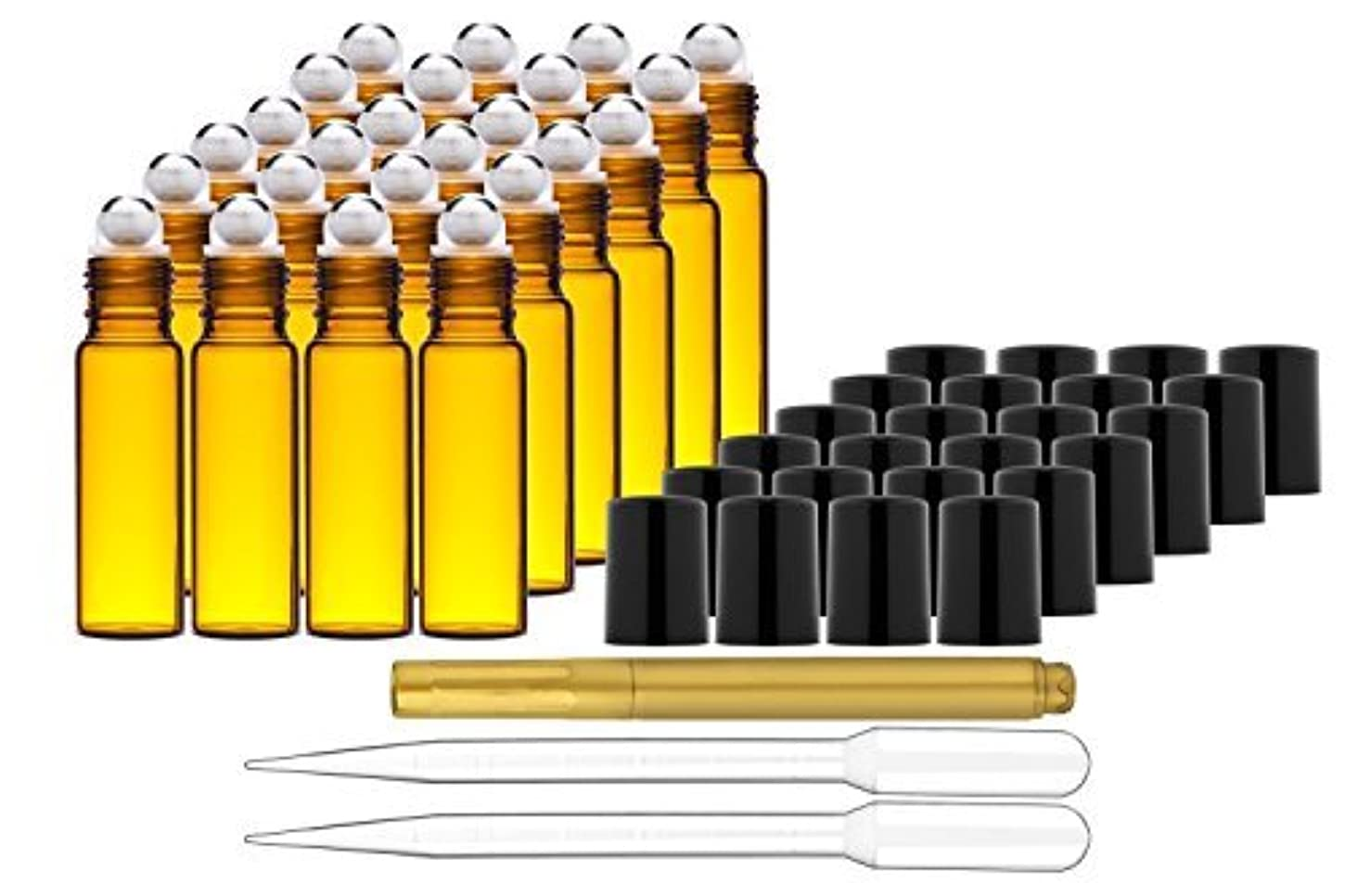 Culinaire 24 Pack Of 10 ml Amber Glass Bottles with Stainless Steel Roller Balls/Caps & (2x) 3 ml Droppers with...