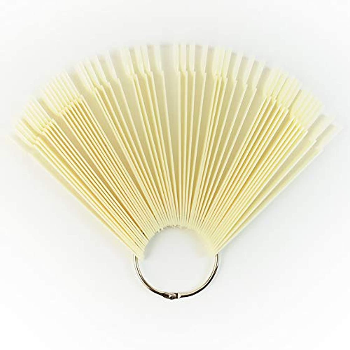 雨のどこにもチューリップメーリンドス ネイルサロンネイルアートツール ネイルチップスティックチップ プロネイリストカラーチャートディスプレイ リングタイプ 練習用 50枚セット 5色選択可能 (ベージュ)
