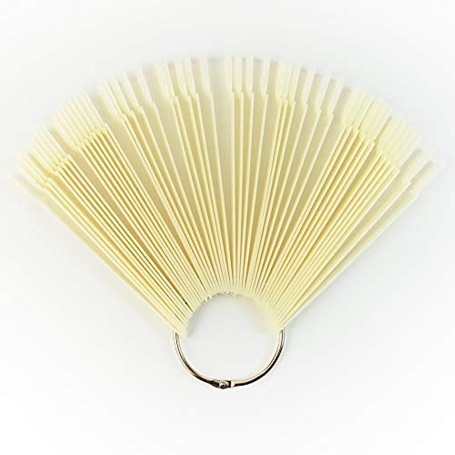 億散髪ラリーメーリンドス ネイルサロンネイルアートツール ネイルチップスティックチップ プロネイリストカラーチャートディスプレイ リングタイプ 練習用 50枚セット 5色選択可能 (ベージュ)