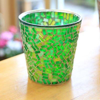 ガラス製鉢カバー:ボーテガラスポットc* 16cm(内径14.5)X16cm【5号鉢用】 (グリーン)