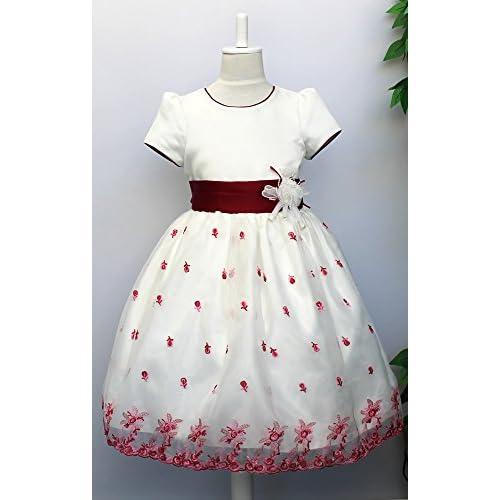 子供ドレス 発表会 パニエ内蔵ドレス オフホワイト ローズの刺繍 d-0004 110cm 肩幅22cm 胸囲56cm 胴囲56cm 総丈58cm