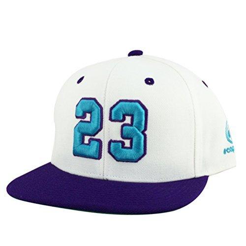 数# 23ホワイトパープルAquaバイザースナップバック帽子...