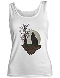 Wolf Moon Artwork レディース Tank Top Sleeveless Shirt