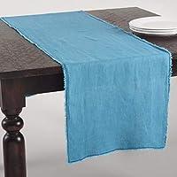 FenncoスタイルシックFringed Stone Washedデザインテーブルランナー–100%リネン 16Wx72L ブルー