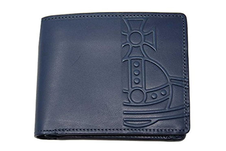 ふざけたリーンホールVivienne Westwood ヴィヴィアンウエストウッド メンズ 財布 エンボス オーブ 本革 ネイビー K04430 新品