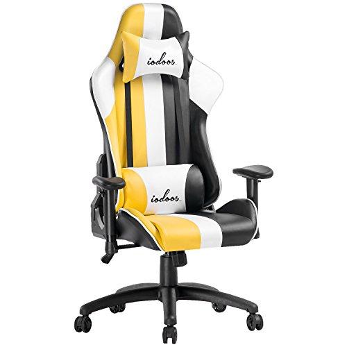 IODOOS ゲーミングチェア ハイバック オフィスチェア パソコンチェア PC椅子 無段階170度リクライニング ロッキング機能 ヘッドレスト付き ランバーサポート付き 肘掛付き 昼寝チェア(金色)F-18HAA