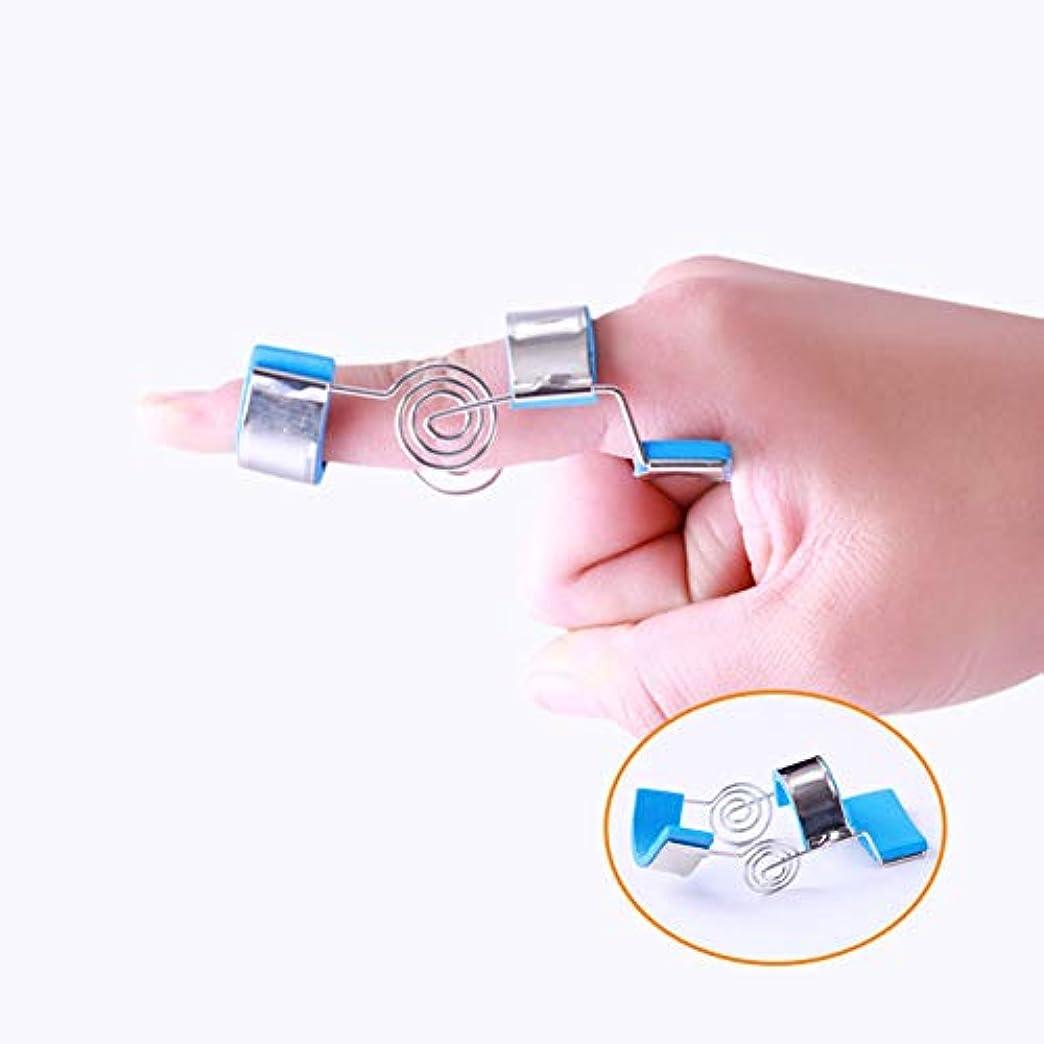 さようなら内なる悪質な指関節可動性手機能トレーニング肌に優しい調整可能な洗える指補正器(ブルー),S