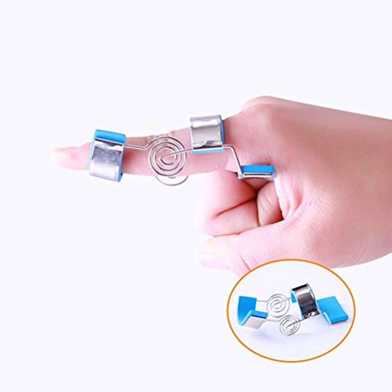 時間とともに平和みなさん指関節可動性手機能トレーニング肌に優しい調整可能な洗える指補正器(ブルー),S