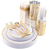 200 Pieces Disposable Dinnerware Set Include Gold Plastic Plates, Gold Plastic Silverware, Gold Plastic Cups, Linen Like Paper Napkins, Service for 25 Guests, Enjoylife (Gold)