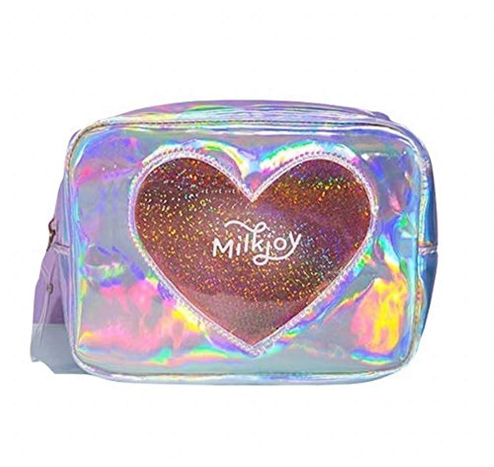 スライムバッジ対抗Sasuga 大容量 コスメ ポーチ 化粧品 小物 収納 小型 バッグ Heart 透明 窓 中身が見える (シルバー)