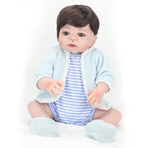 yihangg SiliconeビニールRebornベビー人形Handmade Lifelikeリアルな赤ちゃん人形シミュレーションソフト磁気口22インチ55cm Eyes Open Boyお気に入りギフトCan Be Washed