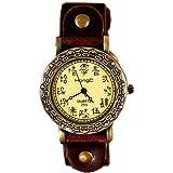 ZooooM アンティーク レトロ 感 デザイン 文字盤 アナログ ウォッチ 腕 時計 ファッション アクセサリー おもしろ カジュアル レディース 女性 ( ブラウン ) ZM-WATCH1805-BR
