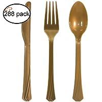 タイガーシェフ プラスチック製カトラリーセット 高耐久 カラープラスチック食器 - フォーク32本、ティースプーン本、ナイフ32本(ゴールド、96本) ゴールド Gold Cutlery 47