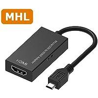 MHL HDMI 変換 アダプタ Micro USB HDMI 変換 ケーブル テレビへ映像伝送 テレビ 出力 ユーチューブをテレビで見る Andorid スマホの画面をテレビから出力(ブラック)