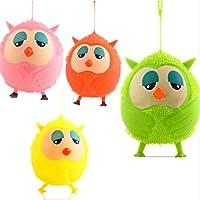 elegantstunning 子供と大人のためのオウルの人形光る弾力性のボールの通気孔のおもちゃの柔らかいファジーボール(ランダムカラー)