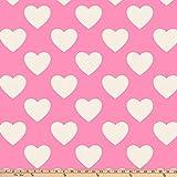 David Textiles Hearts Blizzard Fleece 60'' Pink Fabric