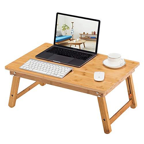 ノートパソコンデスク 竹製 ベッドテーブル ローテーブル 折りたたみ式 高さ調節可能 多機能 トレーテーブル ナチュラル シンプル デザイン どんな部屋でも馴染みします 幅65×奥行45×高さ27.5~39cm FT001-65