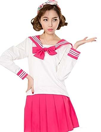 [R-Dream] セーラー服 コスプレ 長袖 女子高生 制服 コスチューム カラー 衣装 選べるカラーとサイズ (S, ローズ)