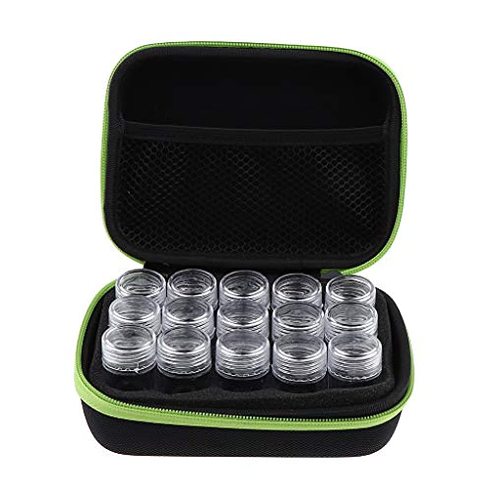 鉱夫ありがたいエクステントアロマポーチ エッセンシャルオイル ケース 携帯用 メイクポーチ 精油ケース 大容量 15本用 - 緑