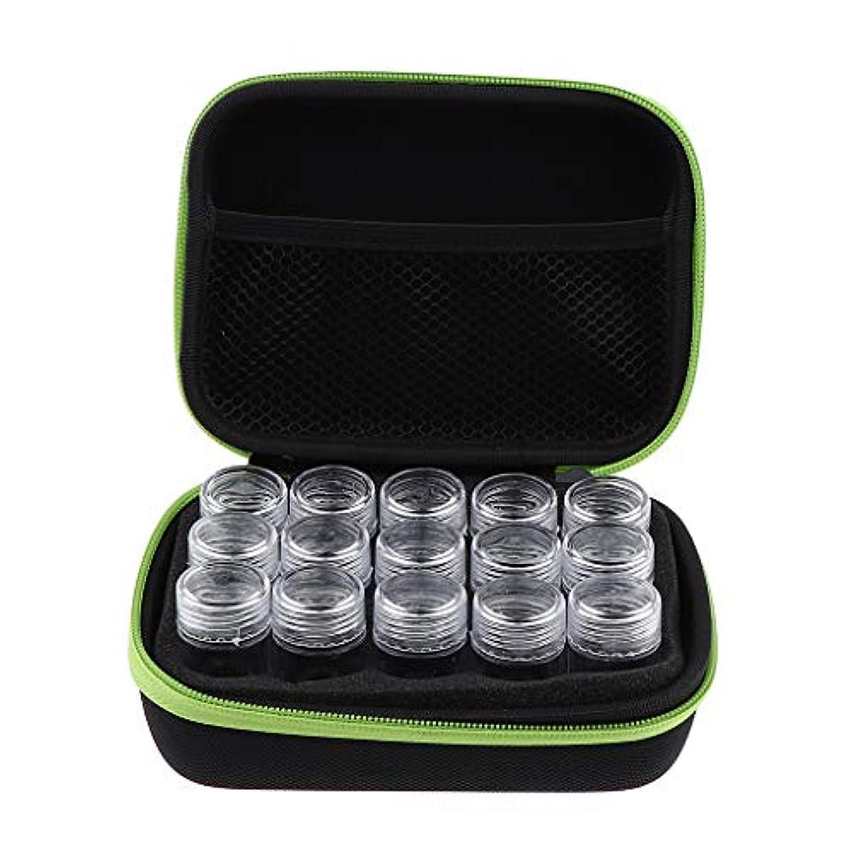 ピュー細い細部アロマポーチ エッセンシャルオイル ケース 携帯用 メイクポーチ 精油ケース 大容量 15本用 - 緑