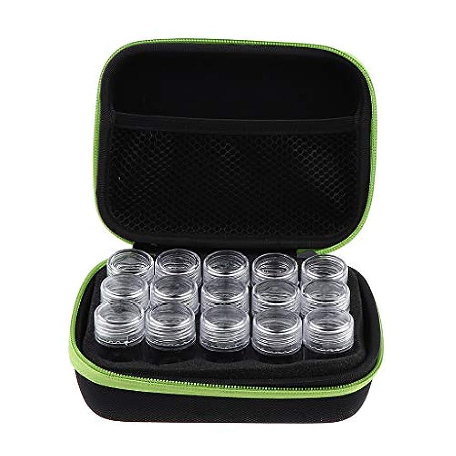 トランペット石炭すべてアロマポーチ エッセンシャルオイル ケース 携帯用 メイクポーチ 精油ケース 大容量 15本用 - 緑