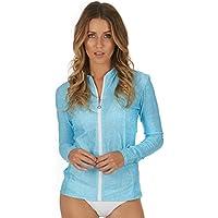 Cat&i Womens Rash Guard Long Sleeve Zip Front UPF 50+ Sun Protection River Blue (Sizes 8-20)