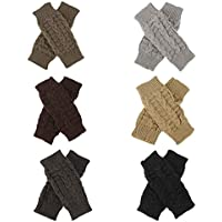 HEQUSigns 6 Pairs Women Winter Warm Knit Fingerless Gloves Crochet Winter Warm Thumbhole Arm Warmers